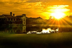 sunset over pond at Bear's club