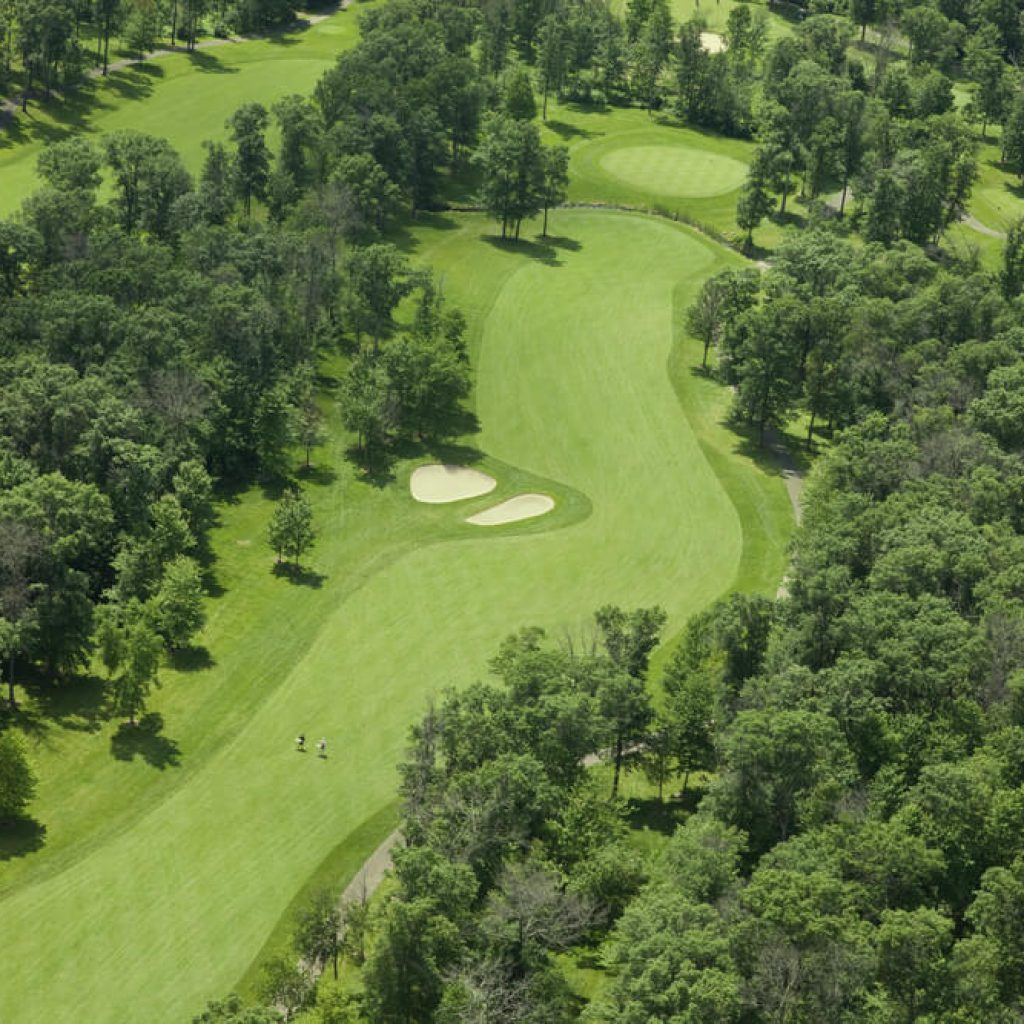 aerial shot of fairway