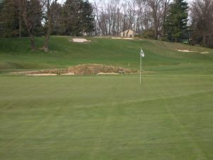 golf green with white flag