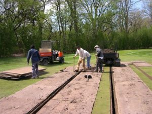 installed wooden walls in ground at Merion